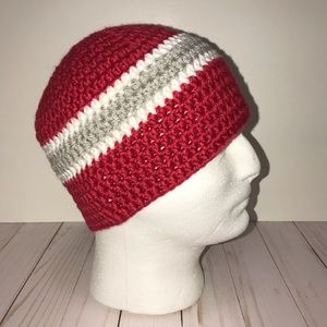 Red, Grey and White Beanie